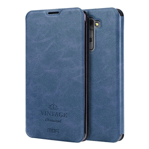 MOFI VINTAGE for LG Stylus 2 / K520 Crazy Horse Texture Horizontal Flip Leather Case with Card Slot & Holder(Dark Blue)
