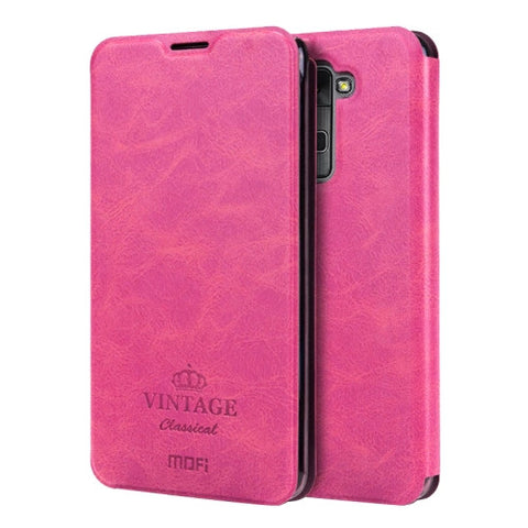 MOFI VINTAGE for LG Stylus 2 / K520 Crazy Horse Texture Horizontal Flip Leather Case with Card Slot & Holder(Magenta)