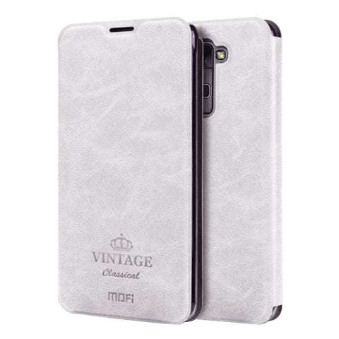 MOFI VINTAGE for LG Stylus 2 / K520 Crazy Horse Texture Horizontal Flip Leather Case with Card Slot & Holder(White)