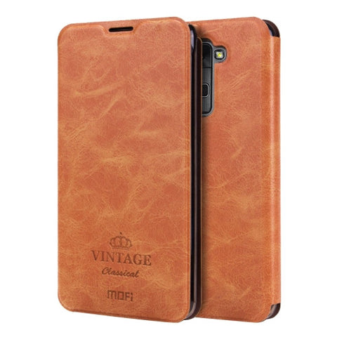 MOFI VINTAGE for LG Stylus 2 / K520 Crazy Horse Texture Horizontal Flip Leather Case with Card Slot & Holder(Brown)