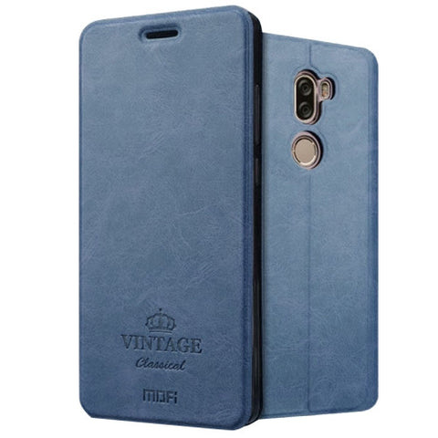 MOFI VINTAGE Xiaomi Mi 5s Plus Crazy Horse Texture Horizontal Flip Leather Case with Card Slot & Holder & Sleep & Wake-up Function(Dark Blue)