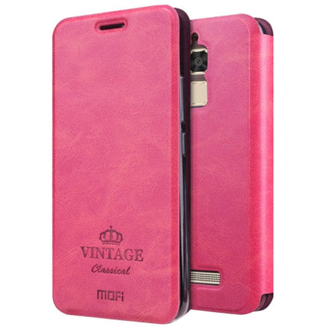 MOFI VINTAGE for Asus Zenfone 3 Max ‏/ ZC520TL Crazy Horse Texture Horizontal Flip Leather Case with Card Slot & Holder(Magenta)