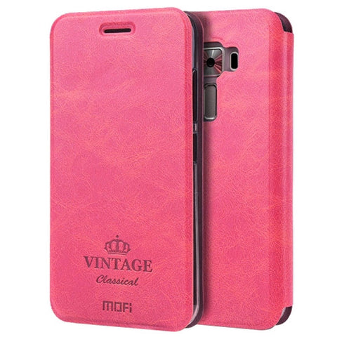 MOFI VINTAGE for Asus Zenfone 3 Laser / ZC551KL Crazy Horse Texture Horizontal Flip Leather Case with Card Slot & Holder(Magenta)