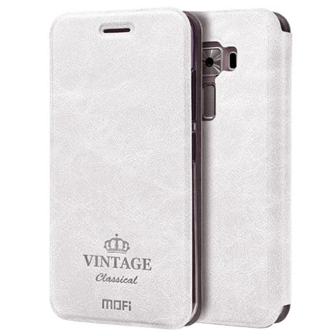 MOFI VINTAGE for Asus ZenFone 3 / ZE520KL Crazy Horse Texture Horizontal Flip Leather Case with Card Slot & Holder(White)