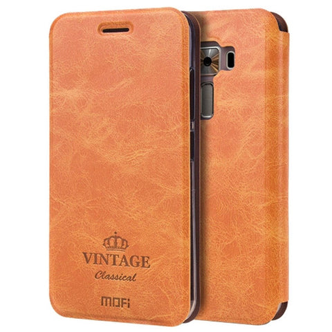 MOFI VINTAGE for Asus ZenFone 3 / ZE520KL Crazy Horse Texture Horizontal Flip Leather Case with Card Slot & Holder(Brown)