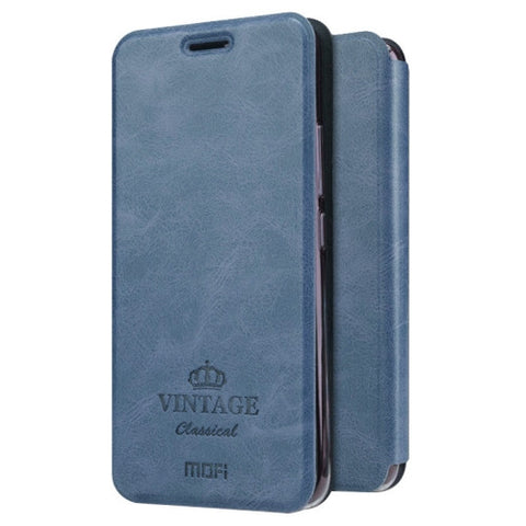 MOFI VINTAGE for Meizu M5 Crazy Horse Texture Horizontal Flip Leather Case with Card Slot & Holder(Dark Blue)