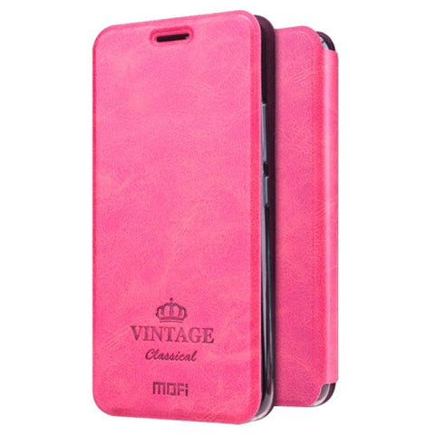 MOFI VINTAGE for Meizu M5 Crazy Horse Texture Horizontal Flip Leather Case with Card Slot & Holder(Magenta)