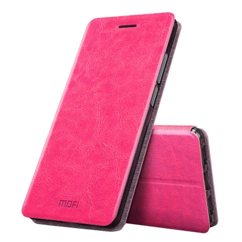 MOFI Huawei Honor 6X Crazy Horse Texture Horizontal Flip Leather Case with Holder (Magenta)