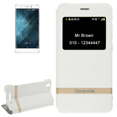 For Blackview A8 (MPH1001) Horizontal Flip Leather Case with Call Display ID & Holder(White)