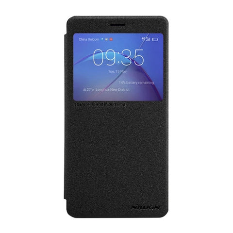 NILLKIN SPARKLE Series Huawei Honor 6X Frosted Texture Horizontal Flip Leather Case with Call Display ID & Sleep / Wake-up Function(Black)
