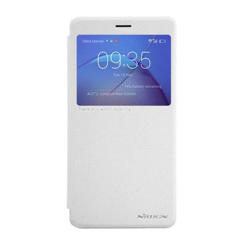NILLKIN SPARKLE Series Huawei Honor 6X Frosted Texture Horizontal Flip Leather Case with Call Display ID & Sleep / Wake-up Function (White)