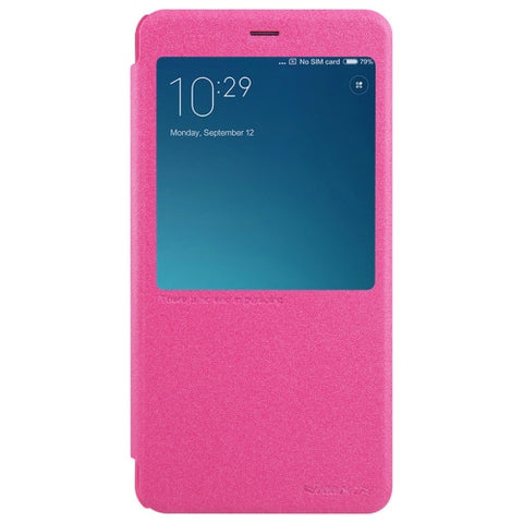 NILLKIN SPARKLE Series Xiaomi Redmi Note 4 Frosted Texture Horizontal Flip Leather Case with Call Display ID & Sleep / Wake-up Function (Magenta)