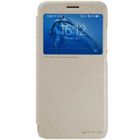 NILLKIN SPARKLE Series Huawei Maimang 5 Frosted Texture Horizontal Flip Leather Case with Call Display ID & Sleep / Wake-up Function (Gold)