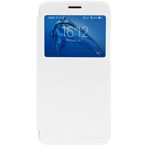 NILLKIN SPARKLE Series Huawei Maimang 5 Frosted Texture Horizontal Flip Leather Case with Call Display ID & Sleep / Wake-up Function (White)