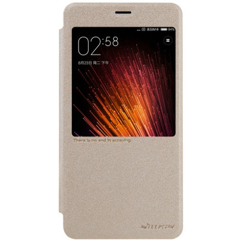 NILLKIN SPARKLE Series Xiaomi Redmi Pro Frosted Texture Horizontal Flip Leather Case with Call Display ID & Sleep / Wake-up Function (Gold)