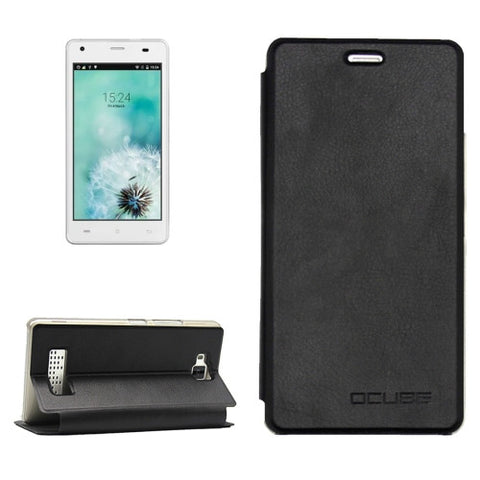OCUBE CUBOT Echo (MPH1440) Litchi Texture Horizontal Flip Leather Case with Holder (Black)