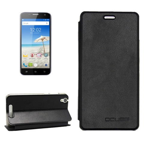 OCUBE CUBOT Manito (MPH1441) Litchi Texture Horizontal Flip Leather Case with Holder (Black)