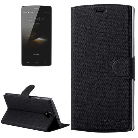 HOMTOM HT7 & HT7 Pro (S-MPH-1262 & S-MPH-1810) Cloth Texture Horizontal Flip Leather Case with Holder & Magnetic Buckle(Black)