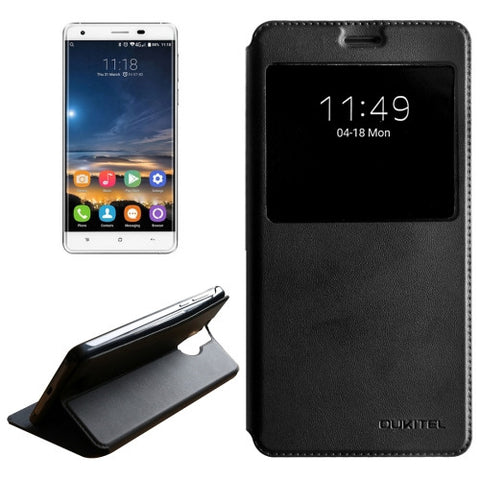 OUKITEL K6000 Pro (MPH0314) Horizontal Flip Solid Color Leather Case with Call Display ID & Holder(Black)