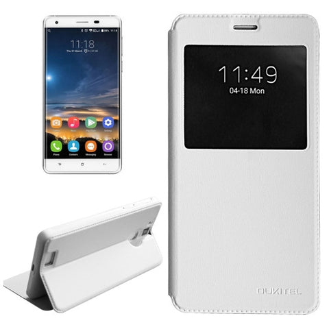 OUKITEL K6000 Pro (MPH0314) Horizontal Flip Solid Color Leather Case with Call Display ID & Holder(White)