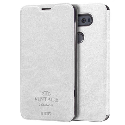 MOFI VINTAGE for LG V20 Crazy Horse Texture Horizontal Flip Leather Case with Card Slot & Holder (White)