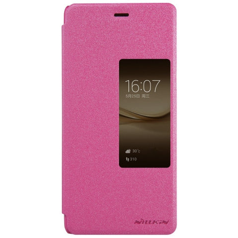 NILLKIN SPARKLE Series Huawei P9 Plus Frosted Texture Horizontal Flip Leather Case with Call Display ID & Sleep / Wake-up Function (Magenta)