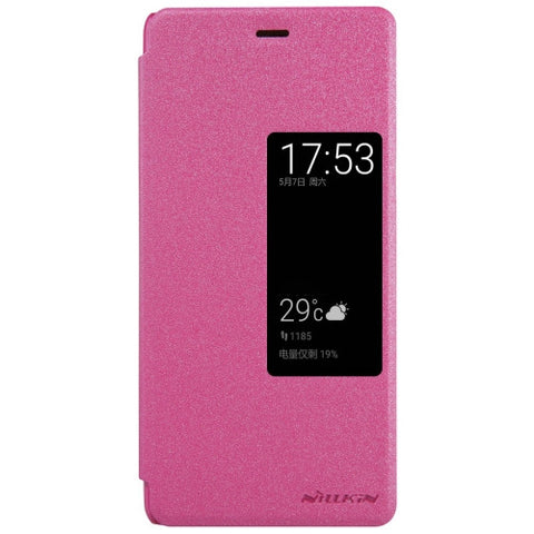 NILLKIN SPARKLE Series Huawei P9 Frosted Texture Horizontal Flip Leather Case with Call Display ID & Sleep / Wake-up Function (Magenta)