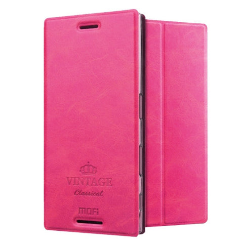 MOFI VINTAGE for Sony Xperia XZ Crazy Horse Texture Horizontal Flip Leather Case with Card Slot & Holder(Magenta)