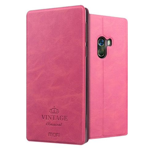 MOFI VINTAGE Xiaomi Mi Mix Crazy Horse Texture Horizontal Flip Leather Case with Card Slot & Holder (Magenta)