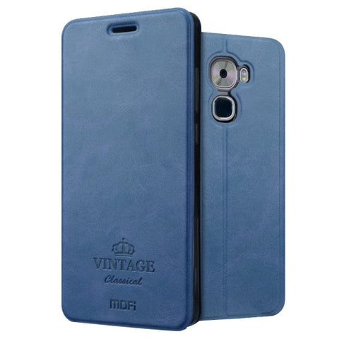 MOFI VINTAGE Letv Le Pro 3 Crazy Horse Texture Horizontal Flip Leather Case with Card Slot & Holder (Dark Blue)