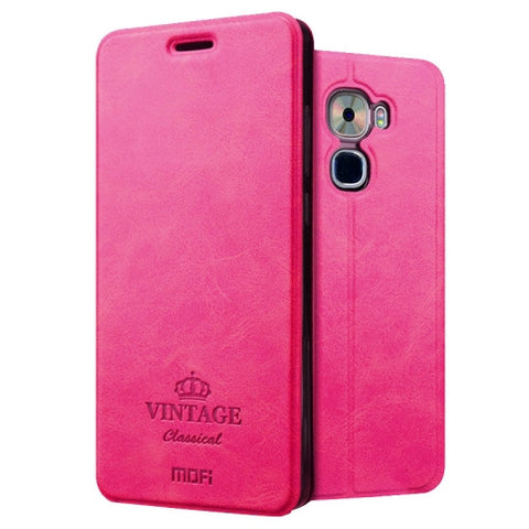 MOFI VINTAGE Letv Le Pro 3 Crazy Horse Texture Horizontal Flip Leather Case with Card Slot & Holder (Magenta)