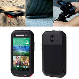 LOVE MEI for HTC One E8 Powerful Dustproof Shockproof Anti-slip Metal Protective Case(Black)