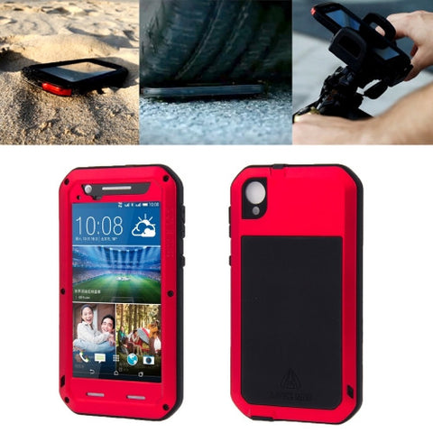LOVE MEI for HTC Desire 820 Powerful Dustproof Shockproof Anti-slip Metal Protective Case(Red)
