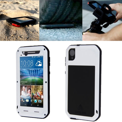 LOVE MEI for HTC Desire 820 Powerful Dustproof Shockproof Anti-slip Metal Protective Case(White)