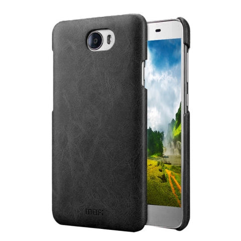 MOFI Huawei Honor 5 Crazy Horse Texture Leather Surface PC Protective Case Back Cover(Black)