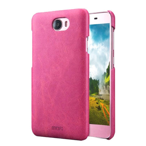 MOFI Huawei Honor 5 Crazy Horse Texture Leather Surface PC Protective Case Back Cover(Magenta)