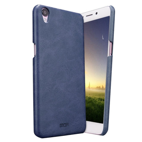 MOFI OPPO R9 Crazy Horse Texture Leather Surface PC Protective Case Back Cover(Dark Blue)