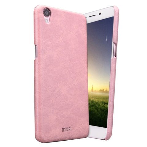 MOFI OPPO R9 Crazy Horse Texture Leather Surface PC Protective Case Back Cover(Pink)