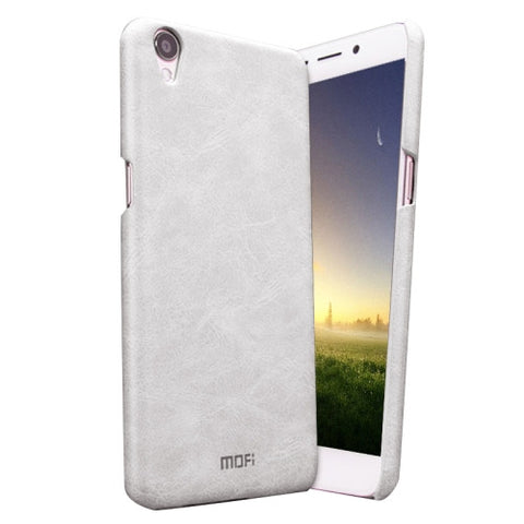 MOFI OPPO R9 Crazy Horse Texture Leather Surface PC Protective Case Back Cover(White)