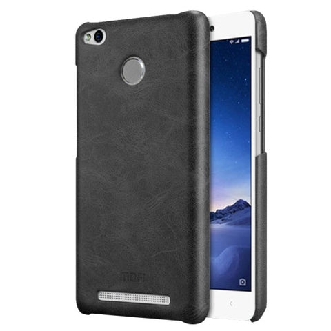 MOFI Xiaomi Redmi 3 Pro Crazy Horse Texture Leather Surface PC Protective Case Back Cover(Black)
