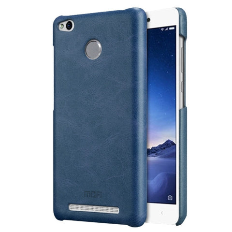 MOFI Xiaomi Redmi 3 Pro Crazy Horse Texture Leather Surface PC Protective Case Back Cover(Dark Blue)