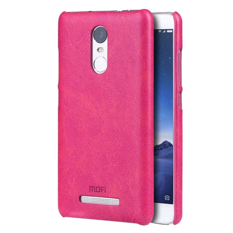 MOFI Xiaomi Redmi Note 3 Crazy Horse Texture Leather Surface PC Protective Case Back Cover(Magenta)