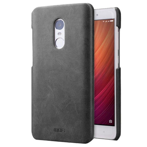 MOFI Xiaomi Redmi Note 4 Crazy Horse Texture Leather Surface PC Protective Case Back Cover(Black)
