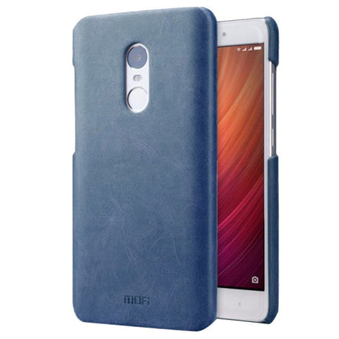 MOFI Xiaomi Redmi Note 4 Crazy Horse Texture Leather Surface PC Protective Case Back Cover(Dark Blue)