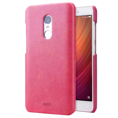 MOFI Xiaomi Redmi Note 4 Crazy Horse Texture Leather Surface PC Protective Case Back Cover(Magenta)