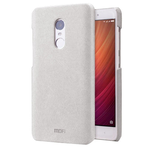 MOFI Xiaomi Redmi Note 4 Crazy Horse Texture Leather Surface PC Protective Case Back Cover(White)