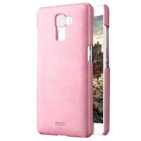 MOFI Huawei Honor 7 Crazy Horse Texture Leather Surface PC Protective Case Back Cover(Pink)