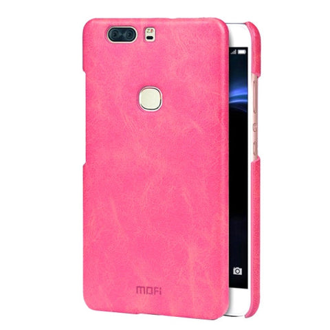 MOFI Huawei Honor V8 Crazy Horse Texture Leather Surface PC Protective Case Back Cover(Magenta)