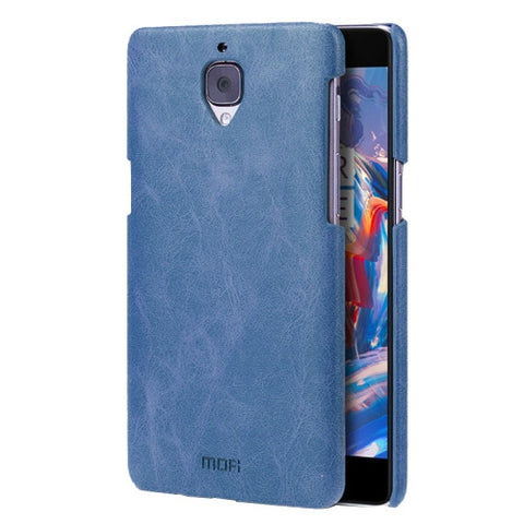 MOFI OnePlus Three / A3000 Crazy Horse Texture Leather Surface PC Protective Case Back Cover(Dark Blue)
