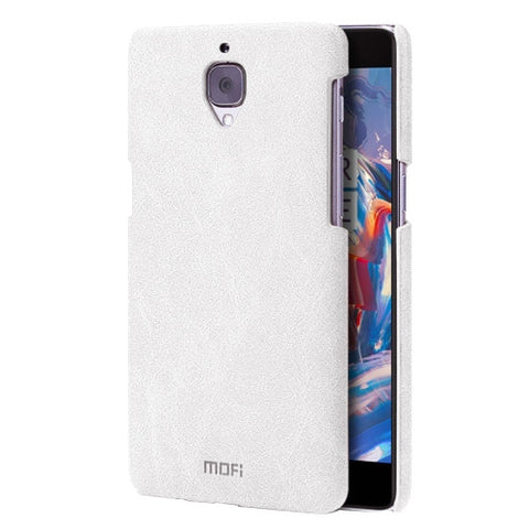 MOFI OnePlus Three / A3000 Crazy Horse Texture Leather Surface PC Protective Case Back Cover(White)